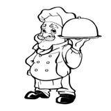 Uśmiechnięty szefa kuchni postać z kreskówki mienia srebra półmisek ilustracji
