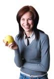 Uśmiechnięty uczeń z jabłkiem Obrazy Stock