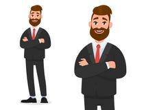 Uśmiechnięty ufny biznesmen w czarnej formalnej odzieży z rękami krzyżował odosobnionego w białym tło portrecie i widocznego ilustracji