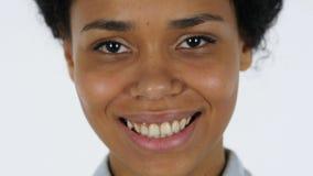 Uśmiechniętych Afro kobiety Amerykańskich warg Zamknięty Up obrazy stock