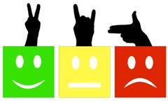 Uśmiechu kwadrat z sylwetkami ręki Zieleń - szczęśliwa, szczęśliwy, zwycięstwo Kolor żółty - normalna, rogi, kózka Rewolucjonistk Fotografia Stock