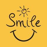 Uśmiechu teksta wektoru ikona Ręka rysująca ilustracja na białym backgro Obraz Stock