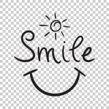 Uśmiechu teksta wektoru ikona Ręka rysująca ilustracja na odosobnionym plecy Obrazy Royalty Free