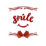 ` uśmiechu ` wektoru ręcznie pisany listy z łękiem Fotografia Royalty Free
