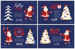 Uświęcone Bycze kartki z pozdrowieniami, Santa Wskazuje na drzewie ilustracji