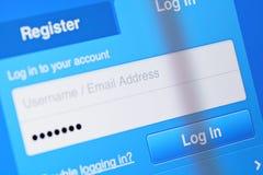 Użytkownik nazwy użytkownika konto na ekranie Obraz Stock