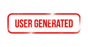 Użytkownik wytwarzał Zadowolonego - czerwona grunge guma, znaczek ilustracji