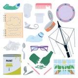 Używać, łamający lub uszkadzający przedmioty, Różni typ odpady ilustracja wektor