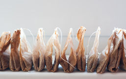 Używać herbaciane torby przechują z rzędu Zdjęcia Royalty Free