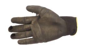 Używać ręki rękawiczka dla ogrodowej pracy odizolowywającej fotografia stock