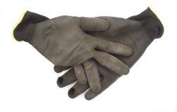 Używać ręki rękawiczka dla ogrodowej pracy odizolowywającej zdjęcia royalty free
