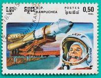 Używać znaczki pocztowi drukujący w Kambodża przestrzeni tematach Zdjęcie Stock