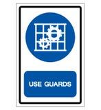 Używa strażnik ochrony symbolu znaka, Odizolowywa Na Białej tło etykietce, Wektorowa ilustracja, EPS10 ilustracja wektor