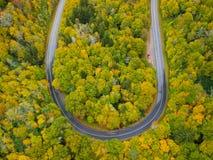 U字型转向在顶上秋天/的秋叶的路曲线空中寄生虫视图  蓝色里奇在阿什维尔附近的阿巴拉契亚山脉, 免版税库存照片