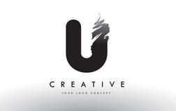 U掠过的信件商标 与刷子str的黑刷子书信设计 库存图片