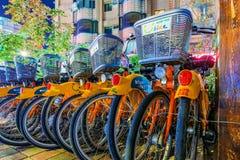 U自行车机架在台北在晚上 免版税库存图片