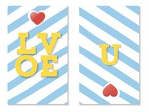 U αγάπης, ζωηρόχρωμη μπλε ευχετήρια κάρτα βαλεντίνων, διάνυσμα Στοκ Εικόνες