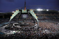 U2 στη συναυλία στοκ φωτογραφίες με δικαίωμα ελεύθερης χρήσης