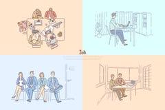 U-agentschap die arbeiders, kandidaten zoeken die op baangesprek wachten, commerciële vergadering, werkgever het huren werknemers stock illustratie