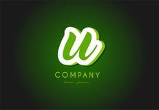 U alphabet letter logo green 3d company vector icon design. U alphabet letter hand written hand writing green white logo 3d vector creative company icon design royalty free illustration
