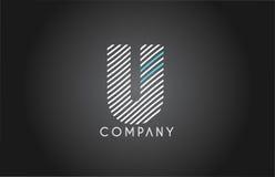 U alphabet line stripe white blue letter logo icon design Royalty Free Stock Photos