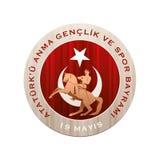 ` u Anma Genclik VE Spor Bayrami de Ataturk de 19 mayis Foto de archivo libre de regalías