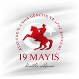 ` u Anma Genclik VE Spor Bayrami de Ataturk de 19 mayis ilustração stock