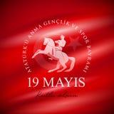 ` u Anma Genclik VE Spor Bayrami de Ataturk de 19 mayis ilustração do vetor