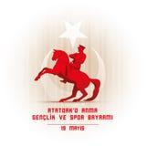 ` u Anma Genclik VE Spor Bayrami di Ataturk di 19 mayis illustrazione di stock