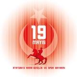 ` u Anma Genclik VE Spor Bayrami di Ataturk di 19 mayis illustrazione vettoriale