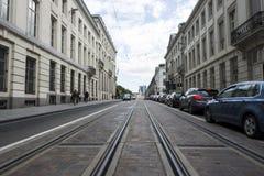 U-Bahn-Linie auf Straße Stockfoto