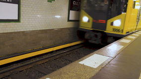 U-bahn metro train arriving at the station in Berlin.  stock video footage