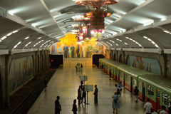 U-Bahn, Pjöngjang, Norden-Korea Stockfoto
