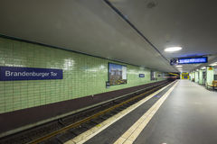 U-Bahn station in Berlin underground tube. Stock Photos