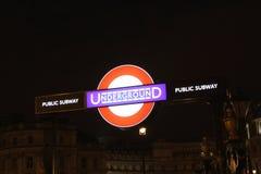 U-Bahn-Zeichen Londons Undergorund Stockfotografie