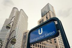 U-Bahn Zoologischer Garten subway station, Berlin, Germany. U-Bahn Zoologischer Garten rapid transit subway station near Kaiser Wilhelm Memorial Church in Berlin Stock Photography