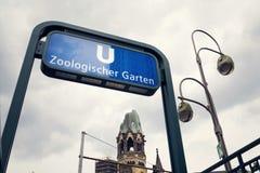 U-Bahn Zoologischer Garten subway station, Berlin, Germany. U-Bahn Zoologischer Garten rapid transit subway station near Kaiser Wilhelm Memorial Church in Berlin Royalty Free Stock Image