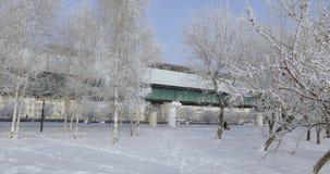 U-Bahnautos im Winter stock video footage