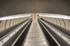 U-Bahnrolltreppe in New York City lizenzfreies stockfoto