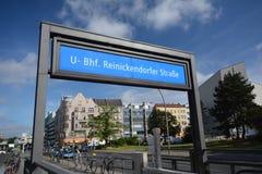 U-Bahnstation Reinickendorfer-Straße in der Berlin-Hochzeit, Deutschland Stockfotografie