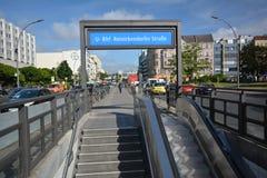 U-Bahnstation Reinickendorfer-Straße in der Berlin-Hochzeit, Deutschland Stockbild
