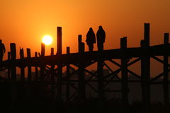 U-bak brug, Myanmar Royalty-vrije Stock Foto