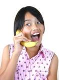 u bananowego telefon serii Zdjęcie Stock