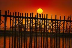 U Bein桥梁曼德勒在缅甸 免版税库存照片
