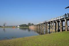 U Bein桥梁在Amarapura,曼德勒,缅甸 库存图片