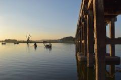 U Bein桥梁在Amarapura,曼德勒,缅甸 库存照片