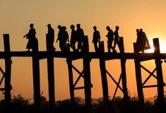 U-bein桥梁,缅甸 免版税库存照片