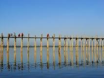 U Bein桥梁, Amarapura,缅甸 图库摄影