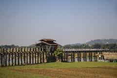 U bein桥梁Amarapura,缅甸缅甸 图库摄影