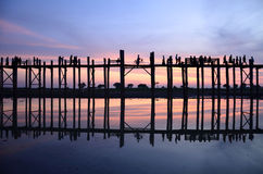 U-Bein Bridge. In Mandalay,Myanmar Stock Photo
